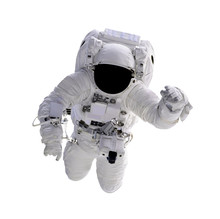 Astronaut Floating In Space Isolated On White Background. (Elements Of This Image Furnished By NASA)