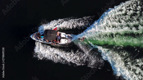 Obraz Wakesurfing Behind a Boat High Angle View - fototapety do salonu
