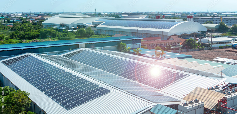Fototapety, obrazy:  Solar panels or Solar cells on factory rooftop or terrace with sun light, Industry.