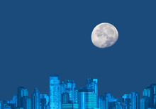 Big Cityscape With Moon On Clear Blue Background, Vector Illustration