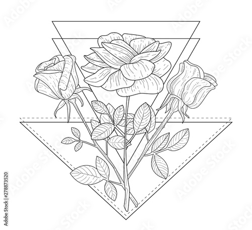 Triangle With Rose Flowers Hand Drawn Monochrome Vector