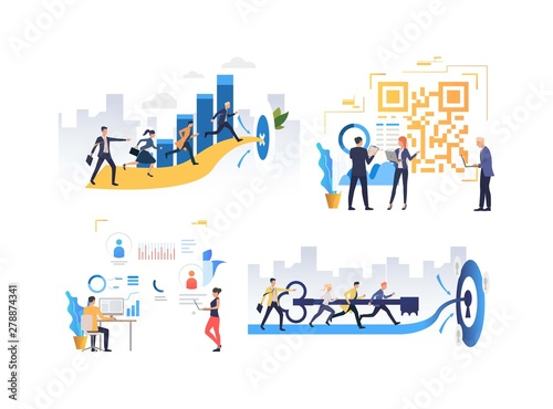 Fototapety, obrazy: Collection of people analyzing data for project development. Group of people running towards goals, discussing qr code and data. Flat colorful vector illustration for poster, presentation, placard