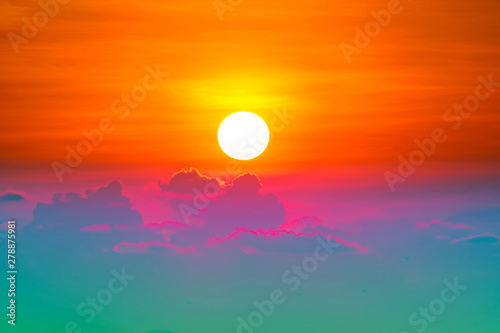 Fotobehang Oranje eclat colorful heap red orange sunset cloud and sun on sky