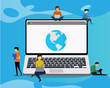 World wildeconcept illustration of people using laptop computer for research working concept. Flat men near big gadgets with earth symbols