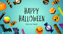 Happy Halloween, Trick Or Treat Lettering, Candies And Sweets. Invitation Or Advertising Design. Typed Text, Calligraphy. For Leaflets, Brochures, Invitations, Posters Or Banners.