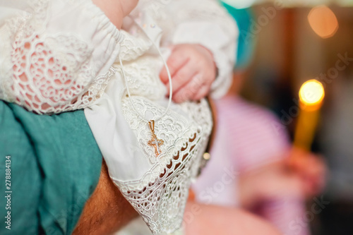 Orthodox cross and baptismal shirt Fototapet