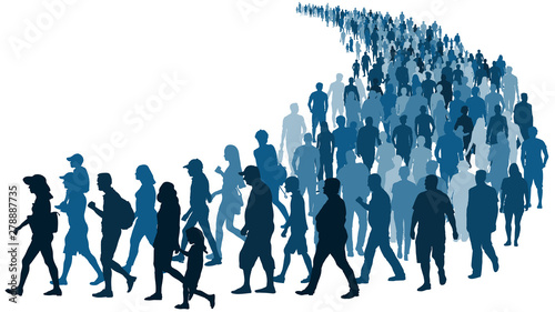 Fotografie, Obraz  Crowd of people waiting in line vector silhouette isolated on white background