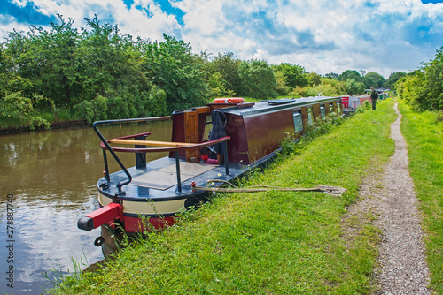 Poster Channel Narrowboat on a British canal in rural setting
