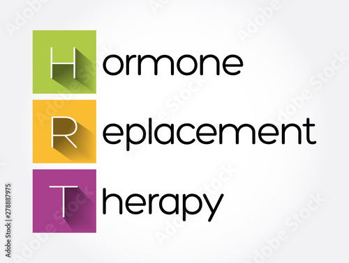 Photo HRT - Hormone Replacement Therapy acronym, medical concept background