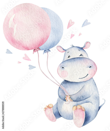 Photographie Hand drawn cute isolated tropical summer watercolor hippo animals
