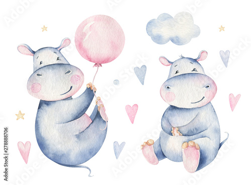 Fotografia  Hand drawn cute isolated tropical summer watercolor hippo animals