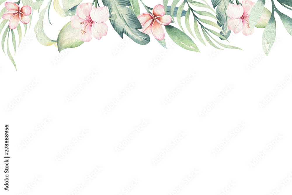 Fototapeta Hand drawn watercolor tropical flower background. Exotic palm leaves, jungle tree, brazil tropic botanical decoration botany elements and flowers. Perfect for fabric design.