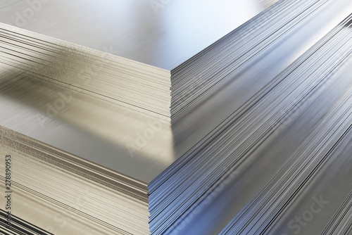 Foto op Canvas Metal Steel or aluminum sheets in warehouse, rolled metal product.