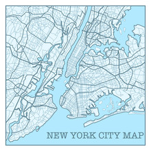 New York City Map Poster Blue ...