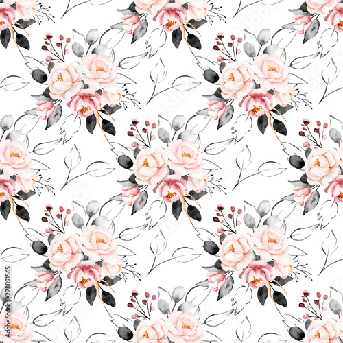 Seamless background, vintage floral pattern with bouquets watercolor flowers. Repeating fabric wallpaper print texture. Perfectly for wrapping paper, backdrop, frame or border.