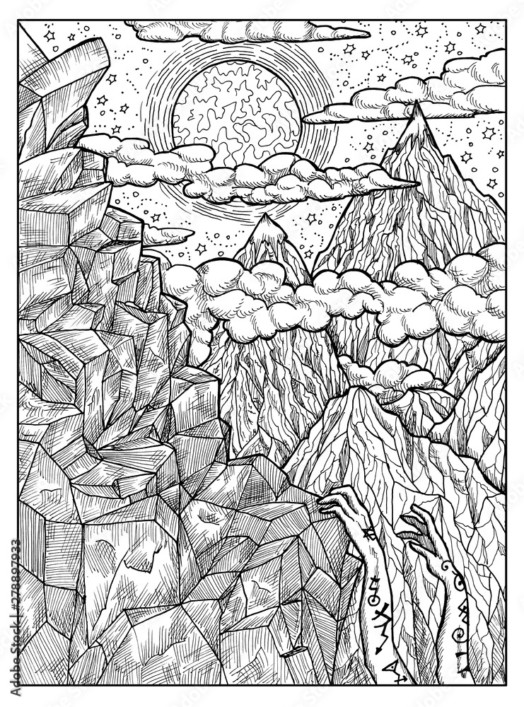 Fototapeta Mountain. Black and white mystic concept for Lenormand oracle tarot card.