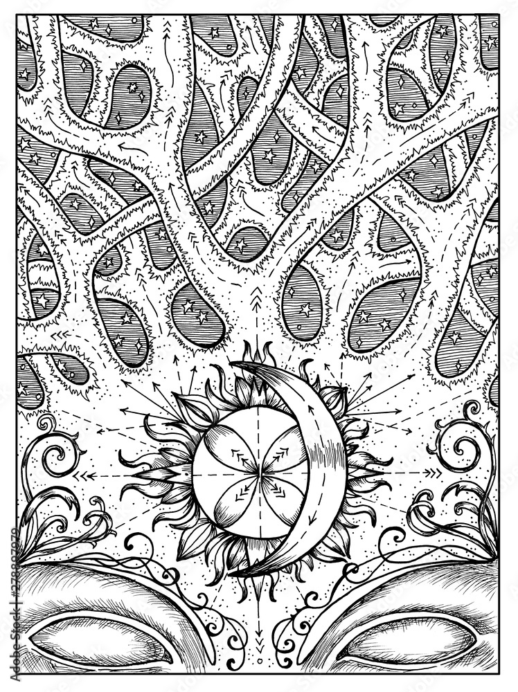 Fototapeta Crossroad. Black and white mystic concept for Lenormand oracle tarot card.