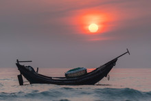 Fishing Boats Of Fishermen At Sea Before Dawn Welcoming A New Day