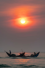 Fishermen Out To Sea Fishing In The Morning On The Beautiful Bays Promise Many Fish Collection Cover Economic Livelihoods In Hue, Vietnam