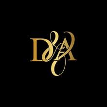 D & A / DA Logo Initial Vector Mark. Initial Letter D & A DA Luxury Art Vector Mark Logo, Gold Color On Black Background.