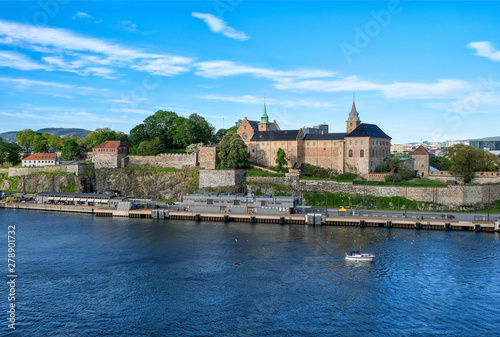Blick auf die bekannte Akershus Festung im Herzen der norwegischen Hauptstadt Os Canvas Print
