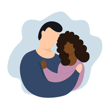 Interracial Couple Vector Illustration. Interaction Marriage. Couple With Rings. Interracial Reletionship.