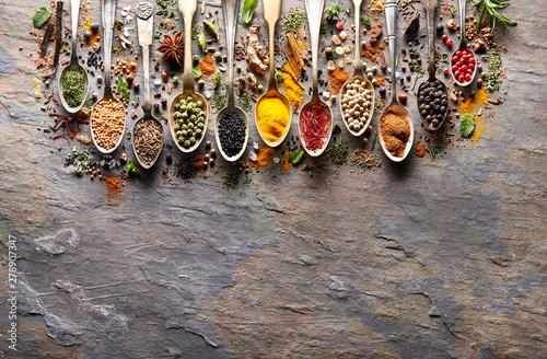Canvas Prints Spices Herbs and spices on black stone