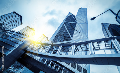 Obraz From a low angle skyscraper in modern Chinese cities - fototapety do salonu