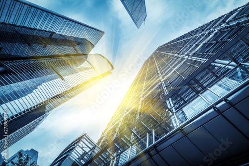 From a low angle skyscraper in modern Chinese cities Canvas Print