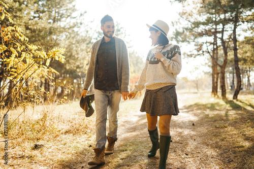 Carta da parati  Lovely hipster couple enjoying each other