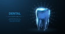 Tooth. Abstract Low Poly Shine...