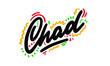 Chad Word Text Creative Handwritten Font Design Vector Illustration.