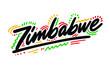 Zimbabwe Handwritten Word Text Swoosh Vector Illustration Design.