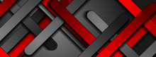 Red And Black Smooth Stripes Abstract Tech Banner Design. Corporate Geometric Background. Vector Illustration
