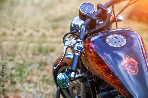 Pinturas sobre lienzo  The chromed handlebar of a motorcycle