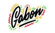 Gabon Word Text with Handwritten Design Vector Illustration.