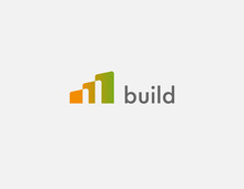 Abstract Bright Geometric Gradient Logo Icon Three Buildings For Construction Company