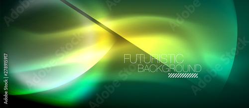 Vector glowing neon circles abstract background