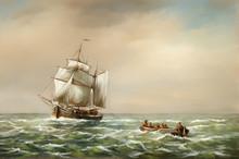 Oil Paintings Landscape, Fine Art, Fishermen, Old Ship In The Sea. Fine Art.