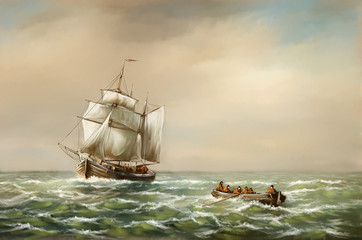 Panel Szklany Marynistyczny Oil paintings landscape, fine art, fishermen, old ship in the sea. Fine art.