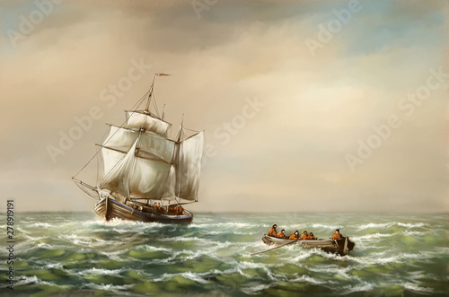 Tuinposter Schip Oil paintings landscape, fine art, fishermen, old ship in the sea. Fine art.