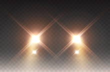 Cars Headlight Effect. Realistic Yellow Round Flares Beams Isolated On Transparent Background. Vector Bright Train Lights For Your Design.