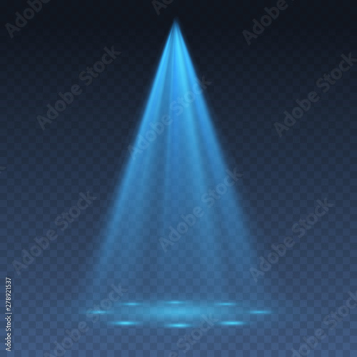 Blue projector effect isolated on transparent background. Vector glow stage light ray or bright scene spotlight beam template. Wall mural
