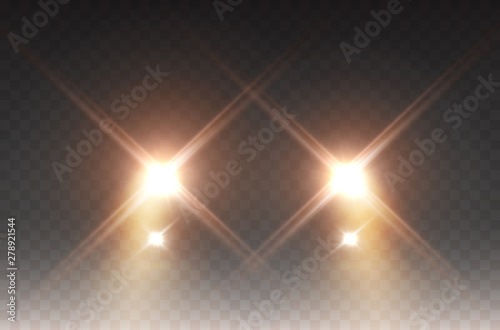 Obraz Cars headlight effect. Realistic yellow round flares beams isolated on transparent background. Vector bright train lights for your design. - fototapety do salonu