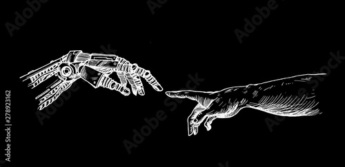 Hands of Robot and Human hands touching with fingers, Virtual Reality or Artificial Intelligence Technology Concept - Hand Draw Sketch Design illustration Canvas Print