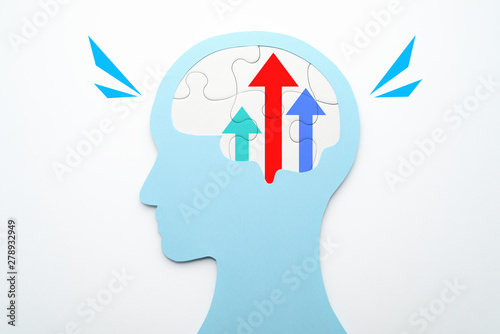Fototapety, obrazy: Motivation and improvement concept. Three growth arrows in brain. Head silhouette and brain shaped puzzle pieces on white background.