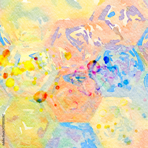 Photo sur Toile Papillons dans Grunge Abstract painting, Wall art, Canvas print, Oil paint, Modern drawing, Textured brushstrokes, Contemporary impressionism style, Warm fancy colors, Psychedelic design pattern, surreal fine art
