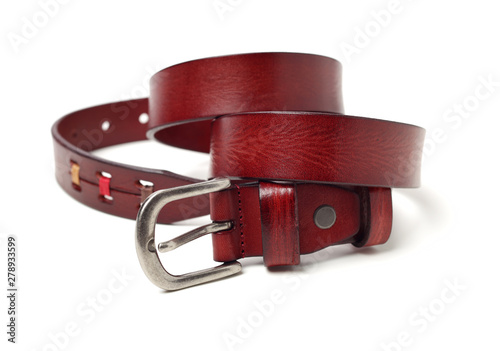 Valokuvatapetti Leather Belt on white background