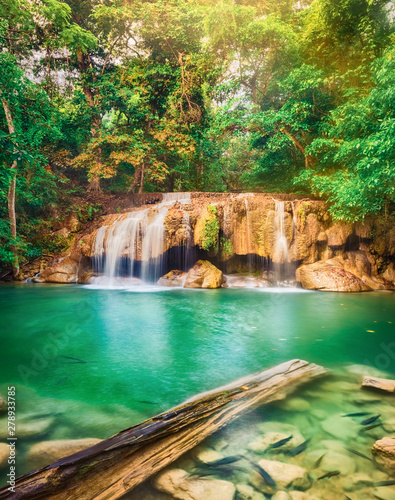 Photo sur Toile Cascades Beautiful waterfall at Erawan national park, Thailand