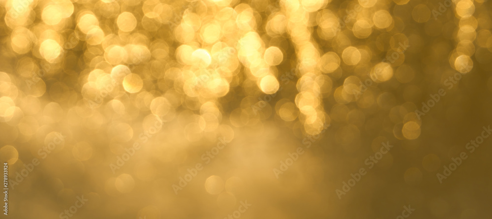 Fototapety, obrazy: Golden bokeh background close up. Abstract blurred glowing background.